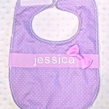 Personalized Bib with Matching Bow - Baby Girl Purple Polka Dots