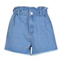 Paperbag Waist Denim Mom Shorts | Boohoo