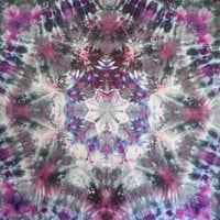 Trippy Mandala tie dye tapestry or wall hanging in greys, black, blue pink and purple.