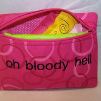 Oh Bloody Hell Tampon & Maxi Pad Holder / Zippered Fabric Purse Pouch / Tampon Keeper
