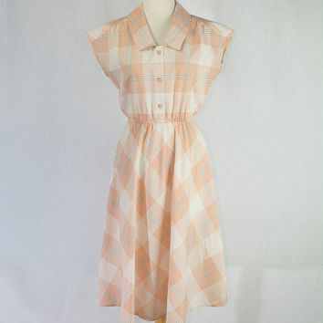 Vintage Shirtwaist Dress Pretty Peach Plaid