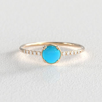 Turquoise and Diamond Engagement Ring | Secret Diamond | Recycled Yellow Gold | 10 Side Stones | Delicate Diamond Hand Pavé Band