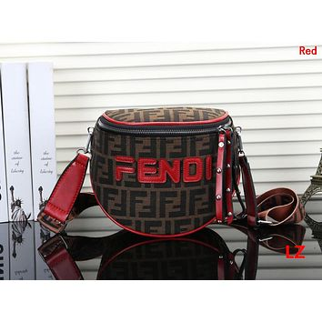 FENDI Hot Sale Fashion Women Men Personality Leather Canvas Chest Bag Crossbody Satchel Shoulder Bag Red