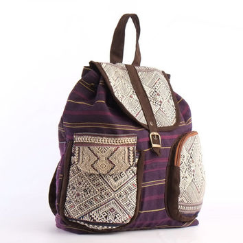 Cotton Slouchy Backpack Fashion Backpack, Day Bag, Travel Backpack, Hipster, Gypsy, Hippie Style