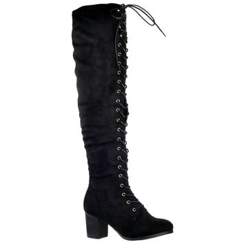 Womens Knee High Boots Chunky Block Heel Retro Lace Up Western Shoes Black
