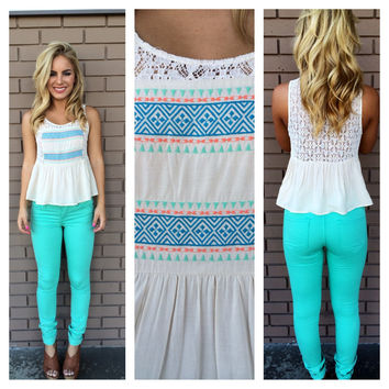 Mint Embroidered & Lace Molly Babydoll Tank