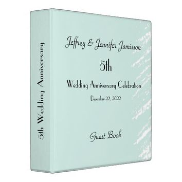 5th Wedding Anniversary Guest Book, Blue & White Binder