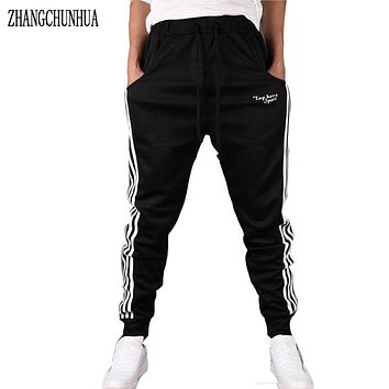 ZHANGCHUNHUA  Men Knit Striped Harem Pants Joggers Pants With Pockets Trousers Summer Men's Trousers Sporting pants For Men