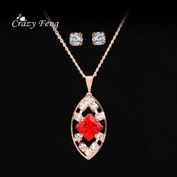 Crazy Feng Fashion Gold-Color Chain Pendant Necklace Stud Earrings Coubic Zirconia Red Wedding Costume Jewelry Sets For Women