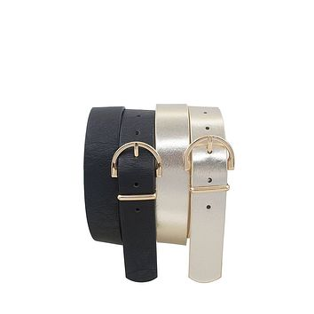 Skinny wide horseshoe buckle duo set belt