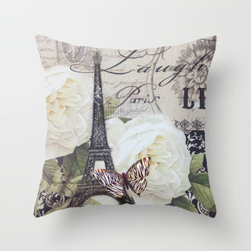 vintage white rose butterfly floral eiffel tower paris art Throw Pillow by Chicelegantboutique