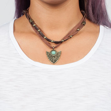 Teal Shield Necklace