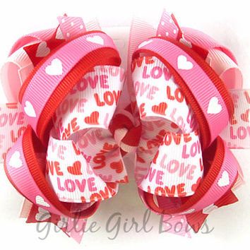 Valentine's Day bow, Love hair bow, Heart print bow, Red and pink hair bow, Boutique hair bow for girl, Big Valentines Day bow