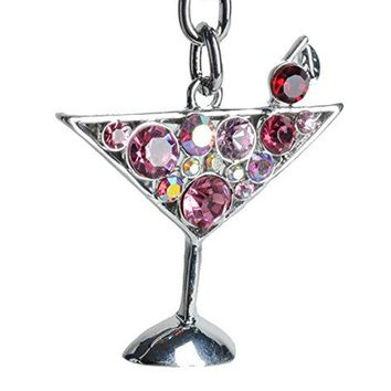 Lilly Rocket Pink Rhinestone Martini Party Glass Cocktail Bling Key Chain Keyring with Swarovski Crystals