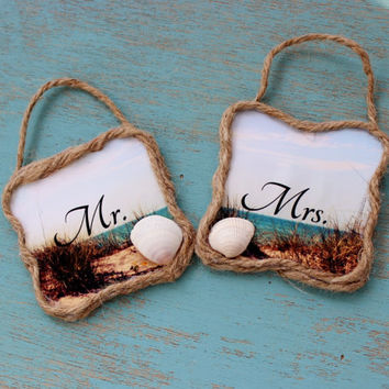 Mr and Mrs Decoration , Beach wedding Prop , Coastal Reception Decor , Beach Shower Gift , Handmade Ornaments