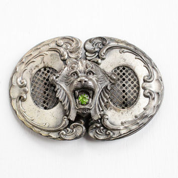 Antique Art Nouveau Lion Belt Slide Clip - Edwardian Silver Tone Figural Cat with Simulated Peridot, Green Stone Rare Two Piece Jewelry