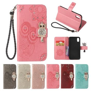 Diamond Bling OWL Strap Wallet TPU Stand Leather Pouch Case For iPhone 5 6 7 8/iPhone X