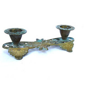 Copper vintage. Candelabra. Flower candle holder. Candelabra vintage. Copper wedding decor. Verdigris patina. Copper candle holder.