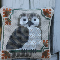 Completed Prairie Schooler Cross Stitched  Owl by Stitchcrafts