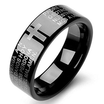 7mm Tungsten Carbide Vintage Black Ring Spanish Bible Lords Prayer Flat Top High Polish Band