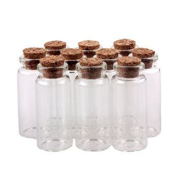 Sealike 30 Pcs 22x50mm Clear Transparent Miniature Wishing Bottle Mini Glass Jars with Cork Stoppers Small Glass Bottles for Wedding favors