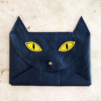 Handmade Leather navy & yellow envelope style cat wallet with brass hardware