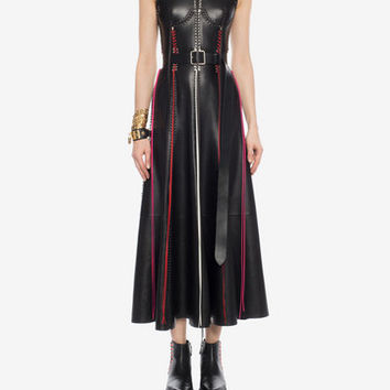 Whip Stitched Leather Dress | Alexander McQueen