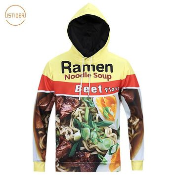 ISTider Printed Pork/Chicken/Beef Ramen Noodle Soup Foods 3D Graphic Hoodies Men Women Funny Hooded Vibrant Young Sweatshirts