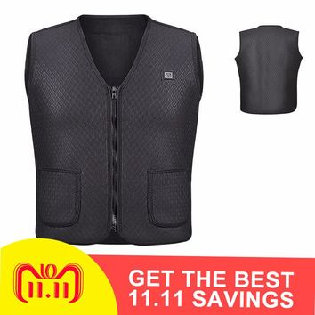 2018 New Men Women Electric Heated Vest Heating Vest Thermal Warm Clothing Feather Hot Sale Winter Heating Coat Jacket Skiing