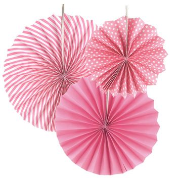 Spiral Paper Fan Hanging Decor, Light Pink, 8-inch, 12-inch, 15-inch 3-Piece