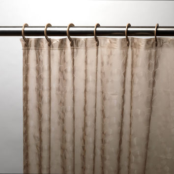 "Royal Bath 3D Effect Embossed 5-Gauge PEVA Shower Curtain with Built-in Hooks (70"" x 72"") - Brown"