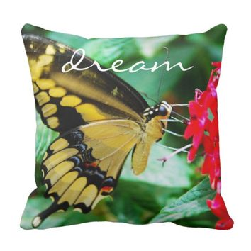 """Dream"" yellow black butterfly photo throw pillow"