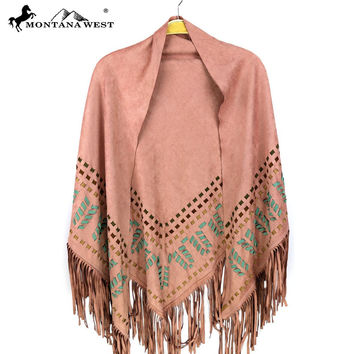 Montana West Pink Suede Fringe Poncho  PCH-1614