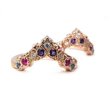 Nebula Stardust Chevron Wedding Bands with Amethyst, Pink Sapphire, Swiss Blue Topaz and Diamonds