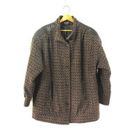 Vintage brown tweed and leather jacket coat / womens plus size