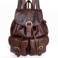 Maxdo High Quality Vintage Brown 100% Guarantee Real Genuine Leather Women Backpack Woman Travel Bags #M2011