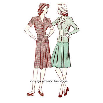 1930s 1940s Womens Suit & Hat Pattern JACKET SKIRT and Cloche Hat Pattern Butterick 2514 Bust 36 Depression WWII Womens Sewing Patterns