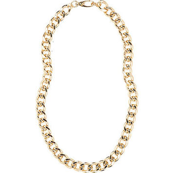 Gold tone long curb chain necklace - necklaces - jewellery - women