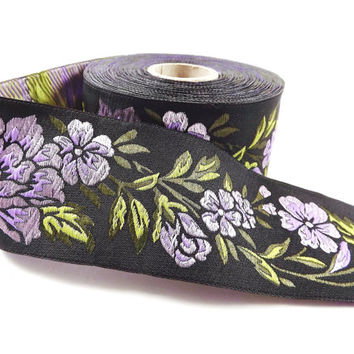 Lilac Purple Peony Flower Woven Embroidered Jacquard Trim Ribbon - 1 Meter or 3.3 Feet or 1.09 Yards