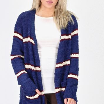 Brushed Wubby + Knit Striped Cardigan {Navy}