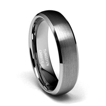 6mm Beveled Edge Tungsten Wedding Band (Platinum)
