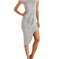 Heather Gray Ruched & Draped Asymmetrical Dress by Charlotte Russe