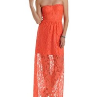 Bright Orange Bow-Back Strapless Lace Maxi Dress by Charlotte Russe