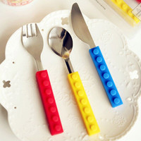 Creative Lego bricks Portable silicone stainless steel Kids Cutlery Fork
