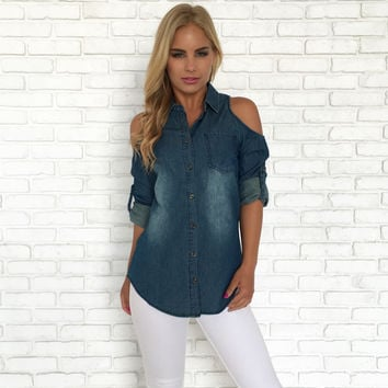 Denim Chambray Cold Shoulder Top