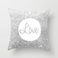 Love Silver Glitter Throw Pillow by Pink Fox Designs
