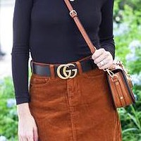 Fashion GUCCI Belt Woman Men Fashion Smooth Buckle Belt With Gift Box Girl Belt Bronw