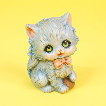 Vintage Doe Eyed Kitten Figurine Very Cute and Adorable Cat Baby Nursery Blue w Bow Tie