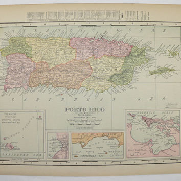 Antique Map of Puerto Rico Map United States Territory Growth Vintage Map 1901 Travel Map Unique Gift Under 20 Wedding Prop Gift Anniversary