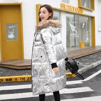Solid Long Full Pockets Metallic Colored Bright Jacket With Hooded Coat For Women Winter Warm Cotton Soft Parks New Bomber